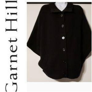 Garnet Hill Black Button Up Wool/Angora Poncho XL
